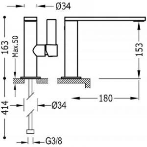Wymiary techniczne baterii umywalkowej Tres Project 211.205.01.BM.D-image_Tres_21120501BMD_2