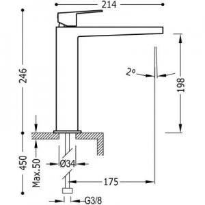 Rysunek techniczny baterii umywalkowej Tres Project 211.203.01-image_Tres_21120301_2