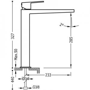 Wymiary techniczne baterii umywalkowej Tres Project 211.803.01-image_Tres_21180301_2