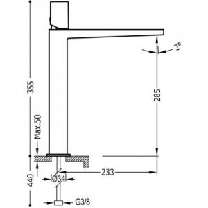 Rysunek techniczny baterii umywalkowej Tres Project 211.803.02-image_Tres_21180302_2