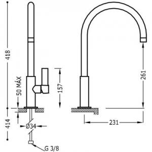 Rysunek techniczny baterii umywalkowej Tres Project 211.906.01-image_Tres_21190601_2