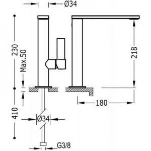 Rysunek techniczny baterii Tres Project 211.305.01.NM.D-image_Tres_21130501NMD_2