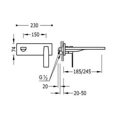 Wymiary techniczne baterii umywalkowej Slim 202.200.03-image_Tres baterie do kuchni i łazienki_202.200.03_2