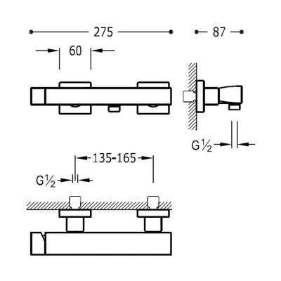Wymiary techniczne baterii prysznicowej 20216701nm-image_Tres baterie do kuchni i łazienki_202.167.01.NM_3