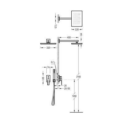Wymiary techniczne zestawu Slim Exclusive 20218006nm-image_Tres baterie do kuchni i łazienki_202.180.06.NM_3