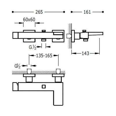Wymiary techniczne baterii wannowej 202.170.01-image_Tres baterie do kuchni i łazienki_202.170.01_2