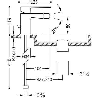 Wymiary techniczne baterii bidetowej Slim -image_Tres baterie do kuchni i łazienki_202.120.01.D_2
