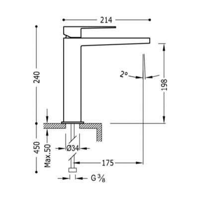 Wymiary techniczne baterii Slim Exclusive 20210303nmd-image_Tres baterie do kuchni i łazienki_202.103.03.NM.D_3