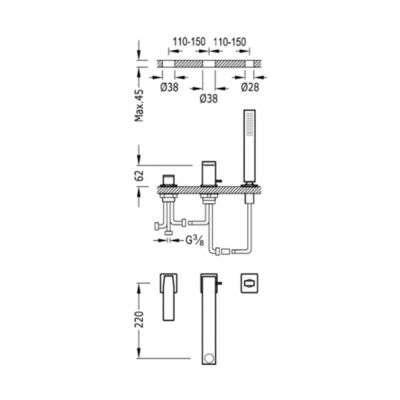 Wymiary techniczne baterii nawannowej Slim Exclusive-image_Tres baterie do kuchni i łazienki_202.161.01.NM_3