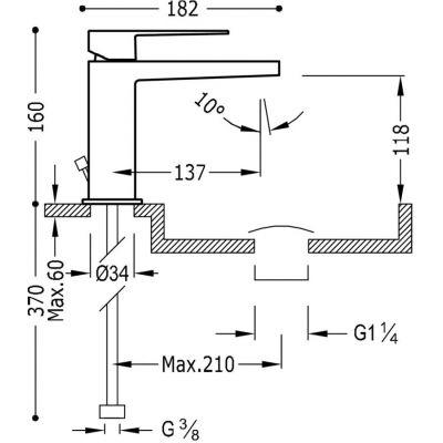 Wymiary techniczne baterii umywalkowej Tres Slim -image_tres_20210301acd_2