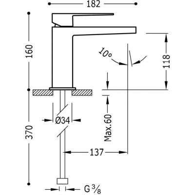 Wymiary techniczne baterii umywalkowej Slim-image_Tres baterie do kuchni i łazienki_202.103.01_2