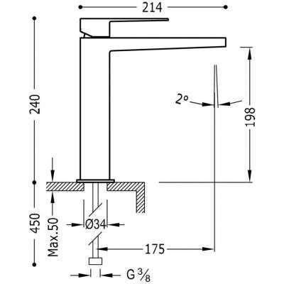 Wymiary techniczne baterii umywalkowej Slim -image_Tres baterie do kuchni i łazienki_202.103.03_2