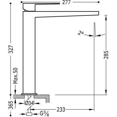 Rysunek techniczny baterii Slim Exclusive 20210305-image_Tres baterie do kuchni i łazienki_202.103.05_2