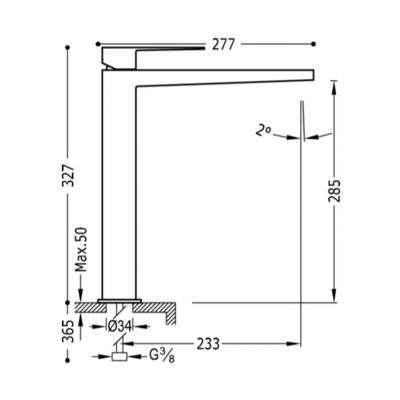 Wymiary techniczne wysokiej baterii umywalkowej Slim Exclusive 20210305bmd-image_Tres baterie do kuchni i łazienki_202.103.05.BM.D_3