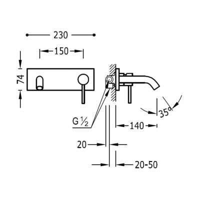 Rysunek techniczny baterii umywalkowej 26220050-image_Tres baterie do kuchni i łazienki_262.200.50_2
