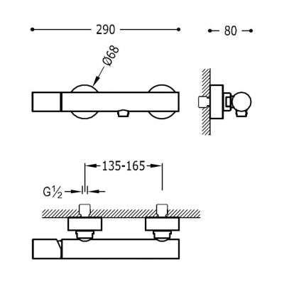 Wymiary techniczne baterii natryskowej 261.167.01-image_Tres baterie do kuchni i łazienki_261.167.01_2