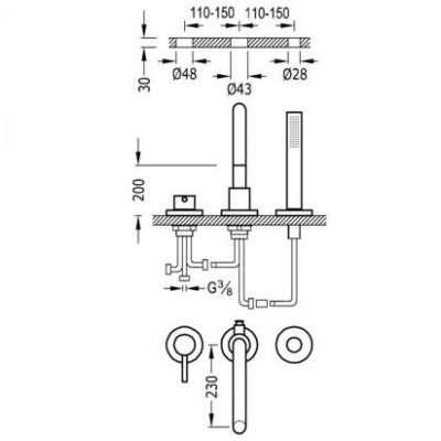 Wymiary techniczne baterii Study Exclusive 26215001-image_Tres baterie do kuchni i łazienki_262.150.01_2