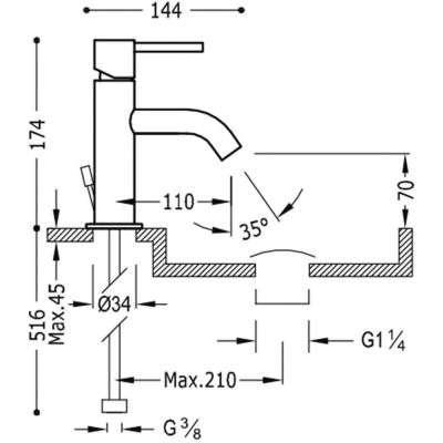 Wymiary techniczna baterii umywalkowej 26290301D-image_Tres baterie do kuchni i łazienki_262.903.01.D_2