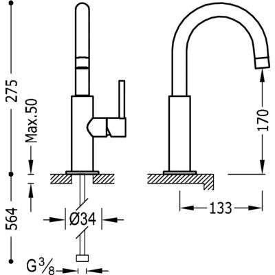 Rysunek techniczny baterii umywalkowej Tres Study-image_Tres baterie do kuchni i łazienki_262.904.03_4