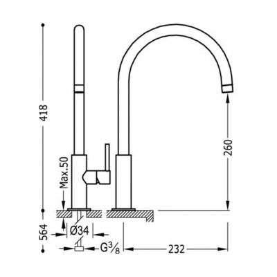Rysunek techniczny baterii umywalkowej 262.904.01-image_Tres baterie do kuchni i łazienki_262.904.01_2