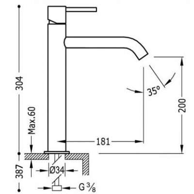 Wymiary techniczne baterii study exclusive 26230701-image_Tres baterie do kuchni i łazienki_262.307.01_3