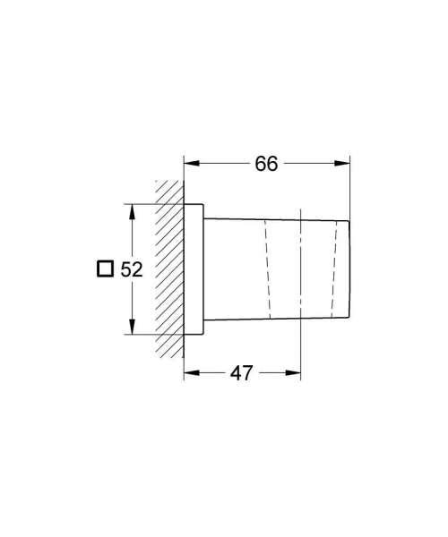 Wymiary techniczne uchwytu na słuchawkę Grohe Euphoria Cube 27693000-image_Grohe_27693000_4