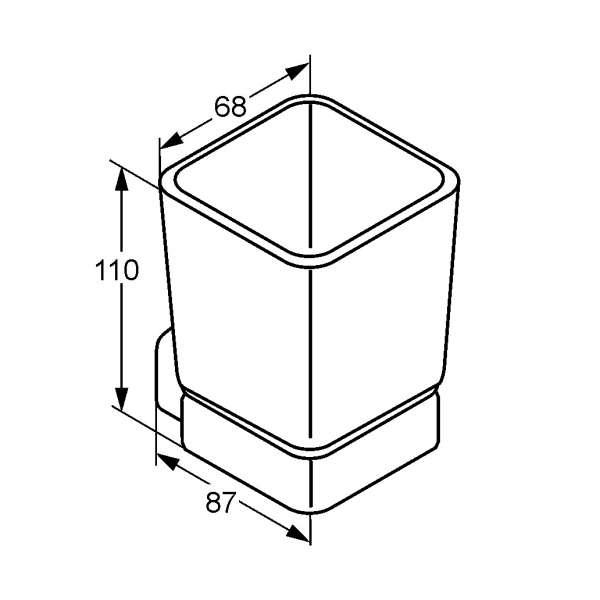 Rysunek techniczny uchwytu ze szklanką Kludi E2 4997505-image_Kludi_4997505_3