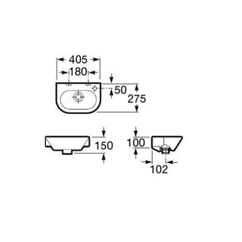 Wymiary techniczne małej umywalki Nexo A327645 00M-image_Roca_A32764500M_3