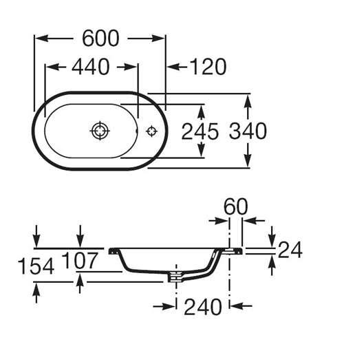 Wymiary techniczne umywalki Roca Meridian A32724E000-image_Roca_A32724E000_4