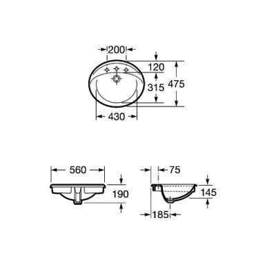 Wymiary techniczne umywalki blatowej Roca Aloa - Victoria-image_Roca_A327865000_4
