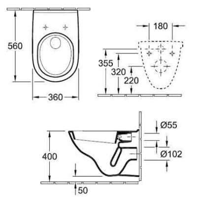 Rysunek techniczny miski wiszącej O.Novo 5660H101-image_Villeroy&Boch_5660H101_3