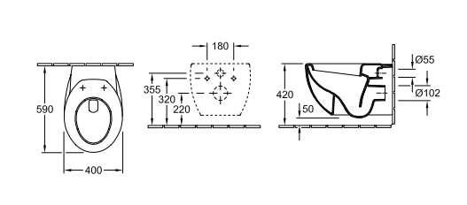 Rysunek techniczny miski wiszącej Aveo Villeroy&Boch-image_Villeroy & Boch_661210R1_2