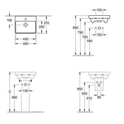 Wymiary techniczne umywalki Avento-image_Villeroy&Boch_73584501_3