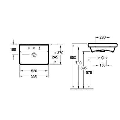 Rysunek techniczny umywalki Avento 55-image_Villeroy&Boch_4A005501_3
