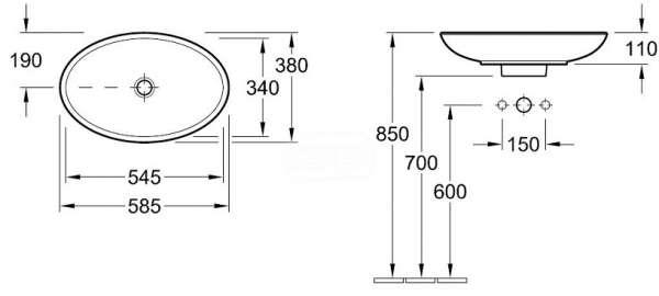 Wymiary techniczne umywalki Villeroy&Boch Loop&Friends 51510001-image_Villeroy&Boch_51510001_4