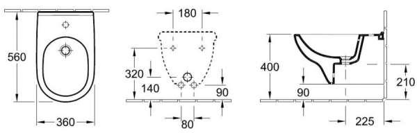 Rysunek techniczny bidetu O.Novo 54600001-image_Villeroy&Boch_54600001_3