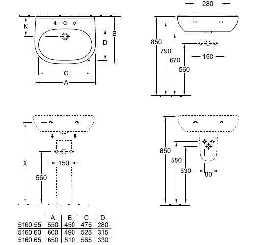 Rysunek techniczny umywalki O.Novo 51605501-image_Villeroy&Boch_51605501_3