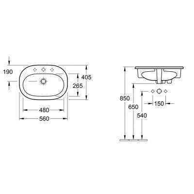 Rysunek techniczny umywalki wpuszczanej w blat O.Novo 41615601-image_Villeroy&Boch_41615601_3