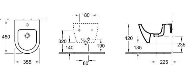 Rysunek techniczny bidetu Subway 2.0 compact-image_Villeroy&Boch_54060001_3