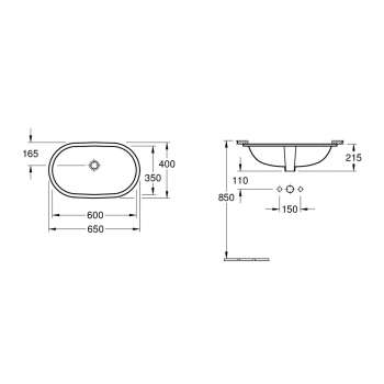 Rysunek techniczny umywalki podblatowej O.Novo-image_Villeroy&Boch_41626001_3