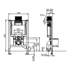 Rysunek techniczny stelaża do wc Villeroy & Boch ViConnect 92247500-image_Villeroy & Boch_92247500_2
