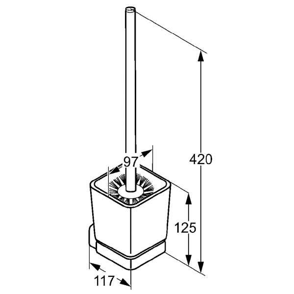 Rysunek techniczny szczotki wiszącej wc Kludi E2 4997405-image_Kludi_4997405_3