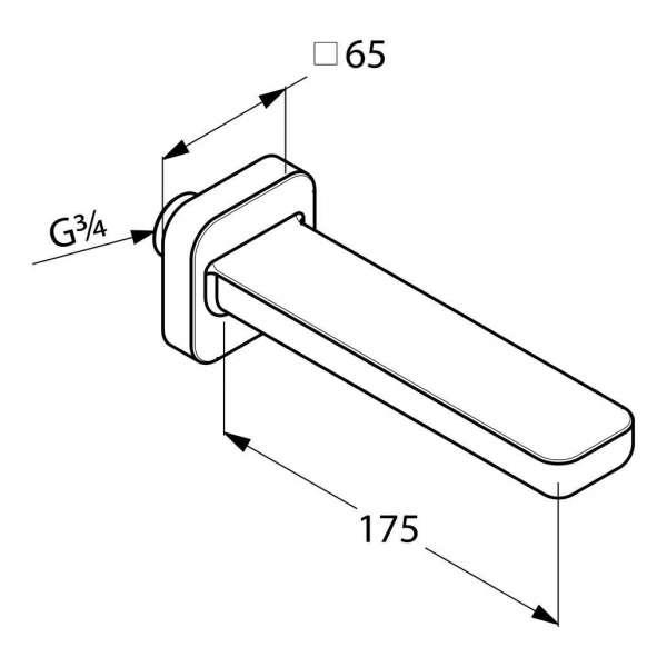 Wymiary techniczne wylewki wannowej Kludi E2-image_Kludi_4950305_3