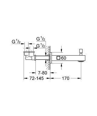 Wymiary techniczne wylewki wannowej Grohe Eurocube 13304 000-image_Grohe_13304000_4