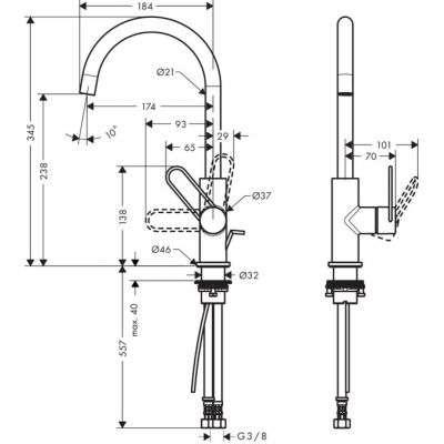 Wymiary techniczne kranu Axor Uno 38036000-image_Hansgrohe_38036000_2