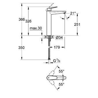 Rysunek techniczny baterii umywalkowej Grohe Eurodisc 23432000-image_Grohe_23432000_4
