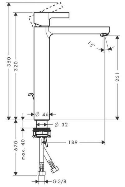 Wymiary techniczne baterii umywalkowej Hansgrohe Metris S 31022000-image_Hansgrohe_31022000_5