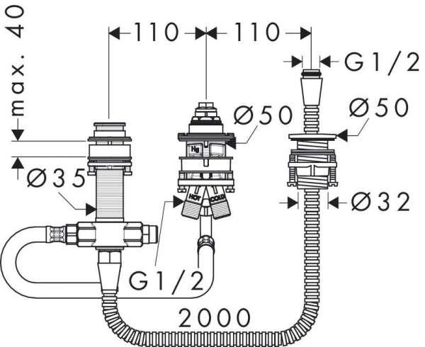 Wymiary techniczne zestawu podstawowego Hansgrohe 13439180-image_Hansgrohe_13439180_3