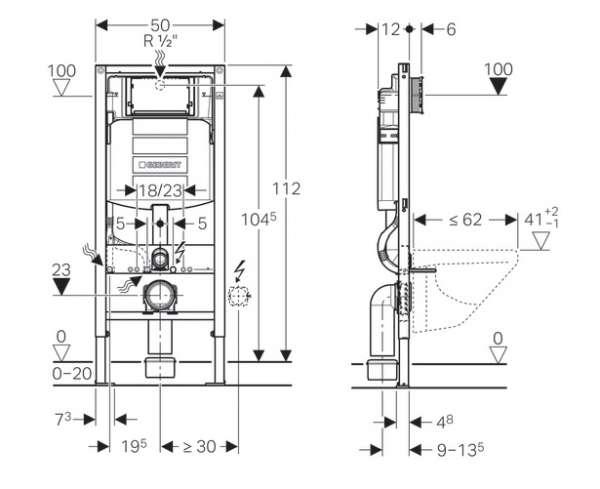 Dane techniczne stelaża podtynkowego do wc 111.320.00.5 -image_Geberit / Villeroy Boch_UP320/SUBWAY/W_4