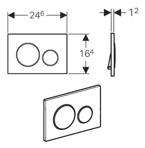 Rysunek techniczny przycisku spłukującego Geberit Sigma 20-image_Geberit / Villeroy Boch_UP320/SUBWAY/W_3